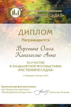 """Диплом за участие в ландшафтной фотовыставке """"Растения в садах"""" 1-8 февраля, Москва, 2021"""