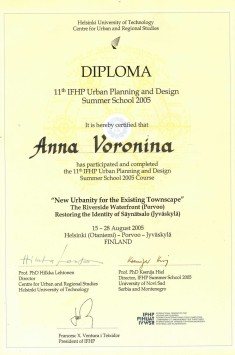 """Diploma 11th IFHP Urban Plannig and Design Summer School 2005 """"New Urbanity for the Existing Townscape"""""""